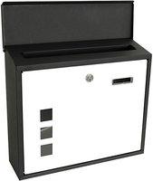 Metalen brievenbus - zwart/wit - met vensters