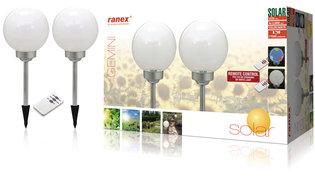Ranex Ra-5000391 Led Solar Tuinlamp Op Spies met Afstandsbediening 2-pack Zilvergrijs Wit Kunststof