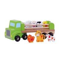 Simply For Kids Houten Vrachtwagen met 6 Dierfiguren