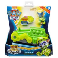 Paw Patrol Mighty Pups Charged Up Rocky + Voertuig + Licht en Geluid