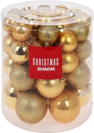 Kerstballenset - 44 stuks plastic - goud