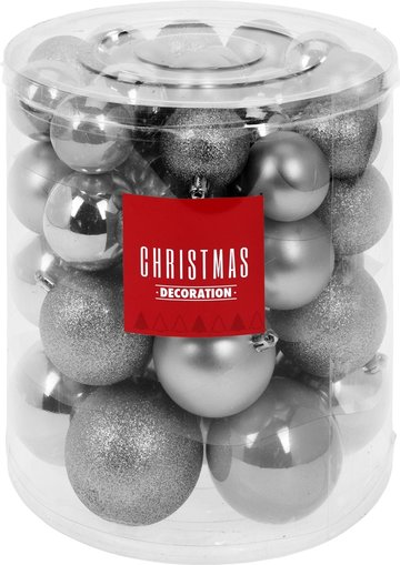 Kerstballenset - 44 stuks plastic - zilver