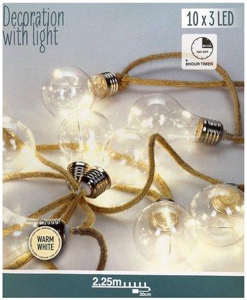 Jute touwslinger - 10 lamps - 2.25m