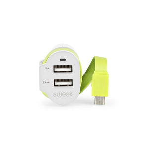 Sweex CH-023WH Autolader 3-uitgangen 6 A 2x Usb / Micro-usb Wit/groen