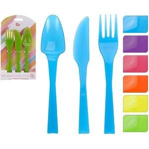 Excellent Houseware Plastic Bestekset met 6 Kleuren 18-delig